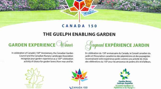 certificate announcing the guelph enabling garden as one of Canada's top 150 gardens. Signed by Justin Trudeau and representatives from the Canadian Garden Council and the Canadian Nursery Council